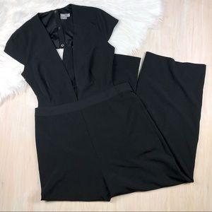 ASOS Black Plunge Open Back Jumpsuit Plus 16